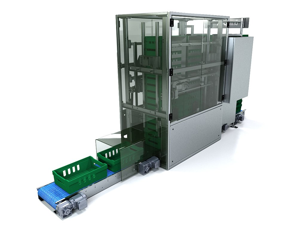 Brillopak crate destaker automated crate de-stacker
